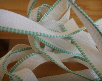 faux bookbinding endband - white and green