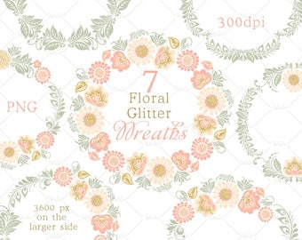 Floral wreath clipart, glitter gold clipart, wedding clipart, flower clip art, instant download, commercial use, web graphics, blog graphics