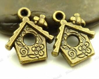 Bulk 24 Bird House Charms 17x15mm Antique Bronze Tone Metal -  Jewelry Supplies - BH3