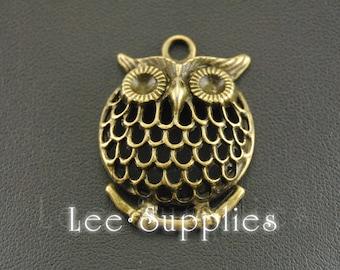 5pcs Antique Bronze Alloy Filigree Owl Charms Pendant A377