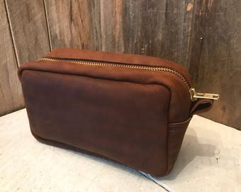 Leather Toiletry Bag / Travel Case -  Free Shipping - Amish Handmade -  Brown / Made in USA