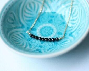 Ebony Necklace - Onyx Bar Gemstone Necklace