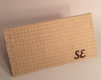 Tan Checkbook cover, leopard print, fabric checkbook, Duplicate Checkbook Cover,  LMiller Creations