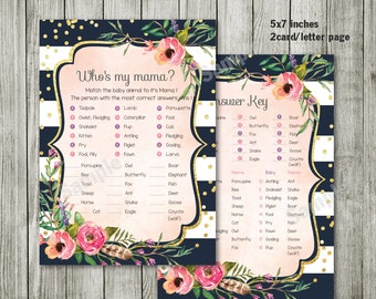 Who is my mama - Water color flower invitation - Baby shower - garden floral baby shower invitation - water color floral invitation