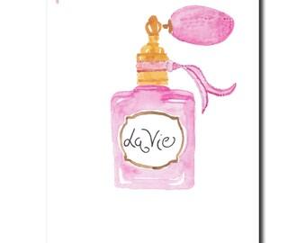 Parchment, la vie, digital file, instant download, pink, bottle, vintage