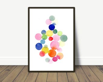 Colorful Wall Art for a Nursery room, Abstract Watercolor Print, Nursery Decor