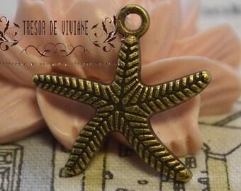 Set of 10 QDW197 pendant, Bronze, star of the sea
