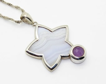 Prettiest Sterling Silver White Banded Agate Purple Amethyst STAR PENDANT Necklace-Superstar-Vintage Estate Jewelry