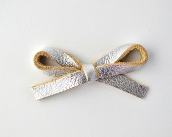 Silver Metallic LARGE Leather Bow Clip Adorable Photo Prop for Newborn Baby Little Girl Child Adult Summer Headwrap Pretty Bow