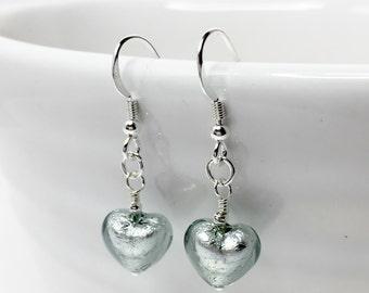 Silver Heart Drop Earrings Glass Murano Earrings 925 Sterling Silver Jewelry Italian Glass Earrings Pretty Gift for Her Cute Gift for Sister