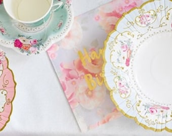 Sale 12 FLORAL TEA PARTY Paper Bowls Parisian Vintage Style Shabby Chic Garden Tea Time Mint  sc 1 st  Etsy & 8 FLORAL TEA PARTY Mint Paper Plates Gold Parisian Vintage
