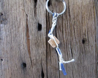 Hemp and crinoid fossil keychain