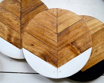"7"" Geometric Wood Round, Wood Wall Decor, Living Room Wall Art, Decorative Trivet, Boho Home Decor, Modern Wood Wall Hanging, Gift for Her"