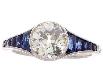1.46 Carat Old European Cut Diamond Sapphire Platinum Ring