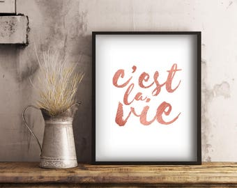 Printable French Quote, C'est la Vie Rose Gold Print, Rose Gold Wall Art, Digital Download