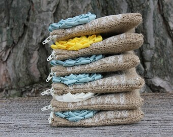Set of six clutches, bridesmaid gift, something blue, burlap and lace clutches, rustic wedding gift, bridesmaid gift idea