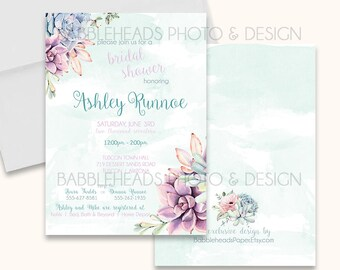 Succulent Watercolor Themed Bridal or Baby Shower Printable or Physical Invitation
