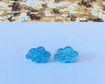 Skyblue Acrylic Cloud Stud Earrings, cloud earrings, blue earrings, glitter earrings, rain earrings, cute earrings, unique earrings, studs