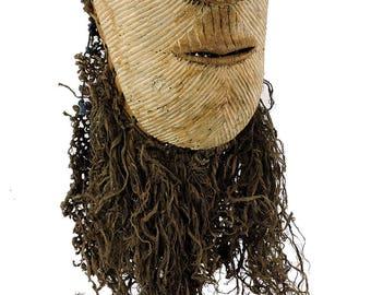Luba Kifwebe Mask Female White Striations Congo Africa 103056