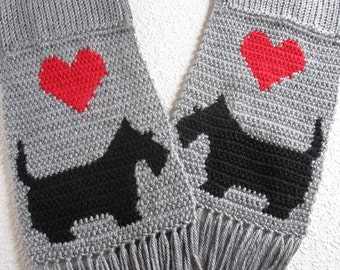 Scottish Terrier Scarf. Gray, crochet and knit scarf with black Scotty dogs and red hearts. Scotty gift