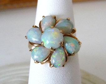 14k Genuine Opal Ring Yellow Gold Jewelry Vintage Australian Opals Cluster Ring from TreasuresOfGrace