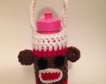 Sock Monkey Bottle Cozy Crocheted