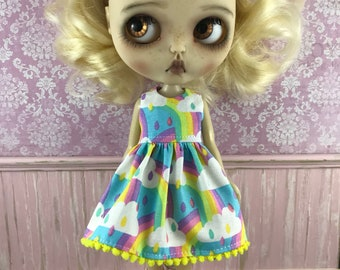 SALE - Blythe Dress - Clouds and Rainbows