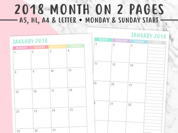 2018 Monthly Planner Printable Month On 2 Pages Monthly