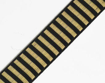 25mm Metallic Thread Braid Trim by 2-Yards, Gold, Silver, STEP-7525