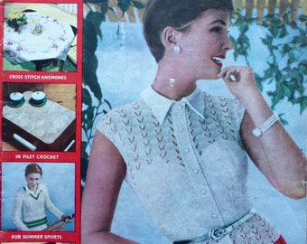 Vintage 1950's Needlewoman and Needlecraft magazine No70 knitting, crochet, embroidery