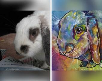 Custom Pet Painting 5x7 Rainbow Art, Original Artwork, Personalized Gift, Animal Nursery, Colorful Decor, Pet Memorial, Cat Lover, Dog Owner