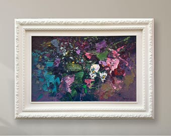 Oil Painting Flowers Canvas Art - Garden Flowers Wall Art - Impressionist Art - Abstract Flowers Painting - Flowers Art - Floral Art Work