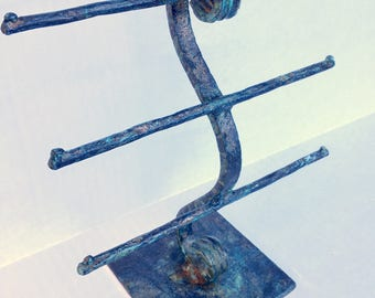 Earring Display - RUSTIC PATINA - Forged T-Stand - FET1