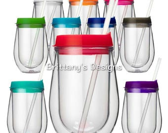 Personalized Stemless Wineglass Tumbler 10 oz - Personalized Gift - Bridesmaid Gift - Wedding Favor - Wine Tumbler - Birthday Gift - Custom