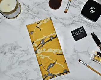 Fabric Makeup Brush Case // Yellow and Grey Brush Organizer - Makeup Brush Travel Storage - Gift for Her - Gifts Under 30 - Made to Order