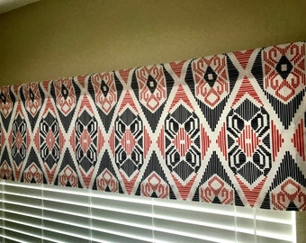 Coral Navy and White Geometric Curtain Valance Choice of Size Premier Prints Munsee