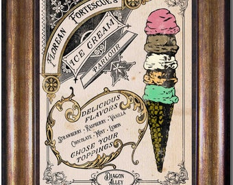 Harry Potter - Vintage Style Florean Fortescue's Ice Cream Parlour- Available in Multiple Sizes 5x7, 8x10, 11x14, 16x20, 18x24, 20x24, 24x36
