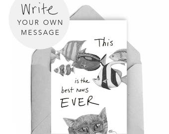 Cat funny card / Happy Birthday / PRINTABLE instant download / Animal art greeting card / Write your own message / Blank inside / 4 x 6 A4