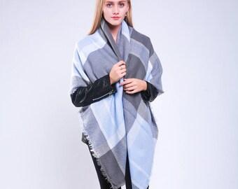 Scottish Outlander Plaid Blanket Monogrammed Scarf Light Blue Tartan Plaid Scarf Winter Blanket Tartan Scarf Women Ladies Plaid Scarf