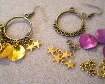 KIT EARRINGS * pearl purple beads * bronze hooks