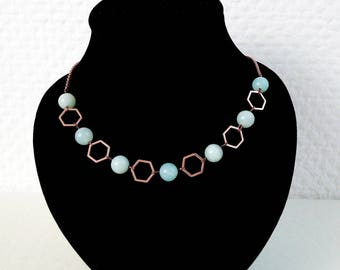 Necklace 'Alix' - Amazonite gemstones and rose gold brass hexagones - Statement necklace, gift for her, turquoise - Handmade jewelry