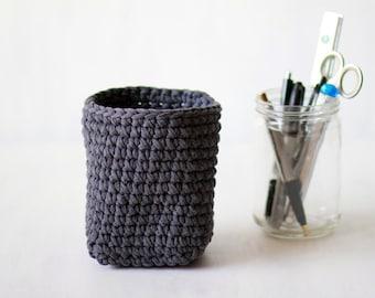 Gray crochet basket, pen holder, bathroom basket, desk organizer, square basket, crochet bin, cosmetic organizer, upcycled from T-shirt yarn