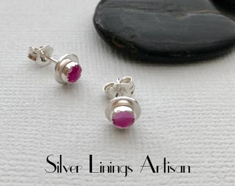 Pink Sapphire, Sterling Silver, Stud Earrings, Pink Sapphires, Cabochon Set in Fine Silver, Minimalist, Artisan Earrings, Metalsmith