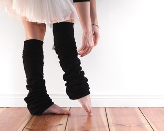 Slouchy black leg warmers, dancewear, extra long ballet legwarmers in soft cotton fleece