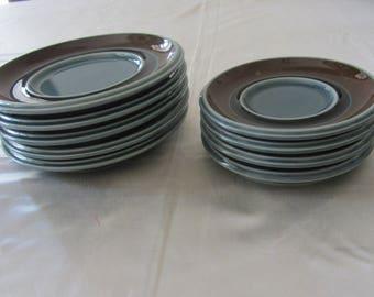ULLA PROCOPE - Arabia, pattern Meri, one (1) ceramic small expresso cup Saucer -  Made in Finland - 1976-1979