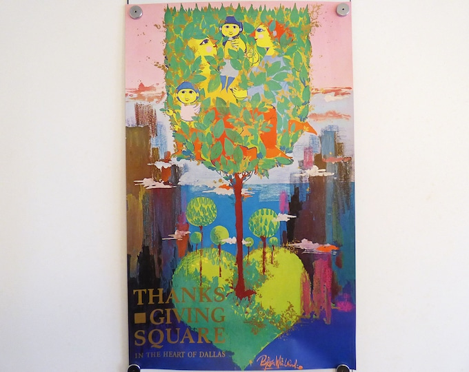 Bjorn Wiinblad Poster Thanks giving Square 1976 Dallas Texas