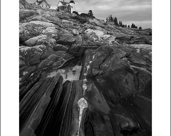 Pemaquid Point Lighthouse - Maine - Black and White Photo Print - Fine Art Photography (LM04)