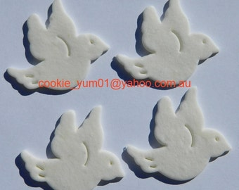 12 edible PEACE DOVES CHRISTENING naming baptism baby cake cupcakes wedding topper decoration party wedding anniversary birthday birds