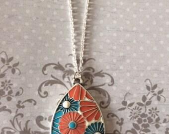 Orange Necklace - Orange Jewelry - Turquoise Necklace - Turquoise Jewelry - Turquoise Pendant - Turquoise Pendant Necklace - Flower Necklace