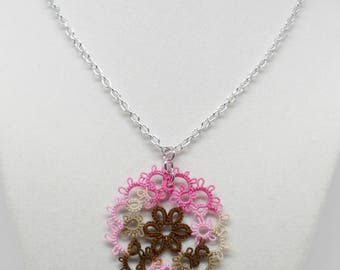 Tatted Lace Pendant With Chain: Summer Garden